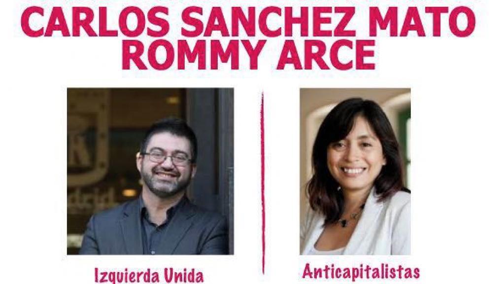 Cartel del Encuentro vecinal con Carlos Sánchez Mato y Rommy Arce