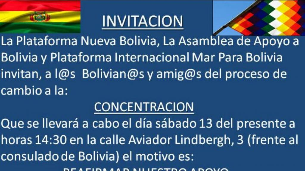 Concentración de apoyo a Evo Morales